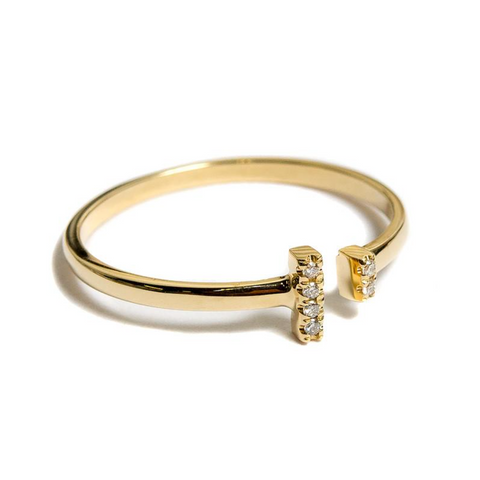 diamond bar ring from janna conner at maeree 14K gold with conflict free diamonds