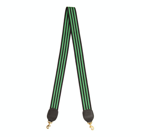 clare v parrot green and black stripe crossbody strap