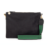 clare v green and black striped crossbody strap at maeree