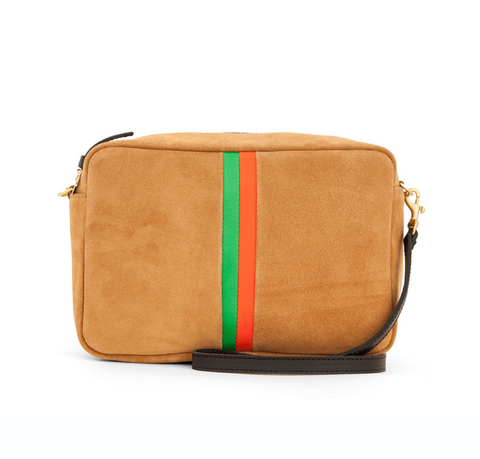 clare v marisol camel suede crossbody with desert stripes