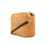 clare v marisol camel suede crossbody with green and orange stripes