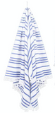 las bayadas la tina blue and white striped fringe mexican beach blanket at maeree