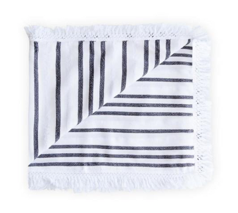 las bayadas la moya black and white fringed mexican beach blanket at maeree