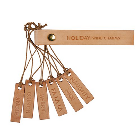 holiday leather wine charms at maere