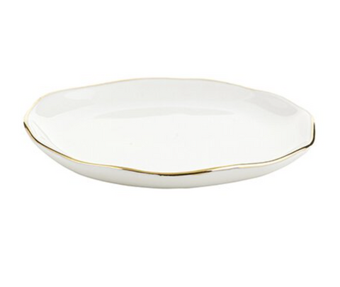 ceramic white and gold trinket tray