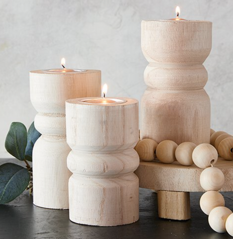 natural wood candlesticks at maeree