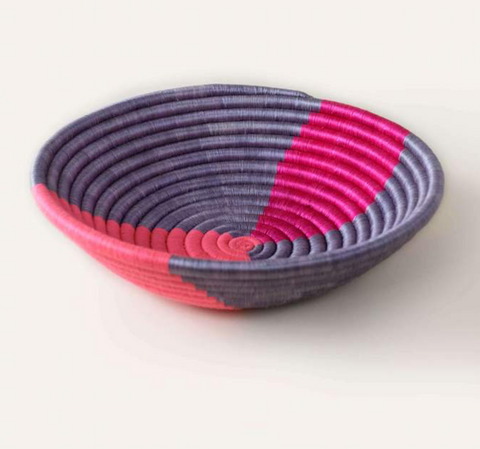 indego africa purple and pink twist plateau basket at maeree