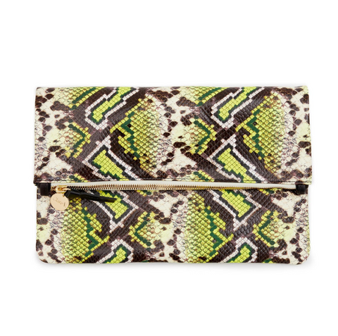 clare v yellow riviera snake foldover clutch at maeree