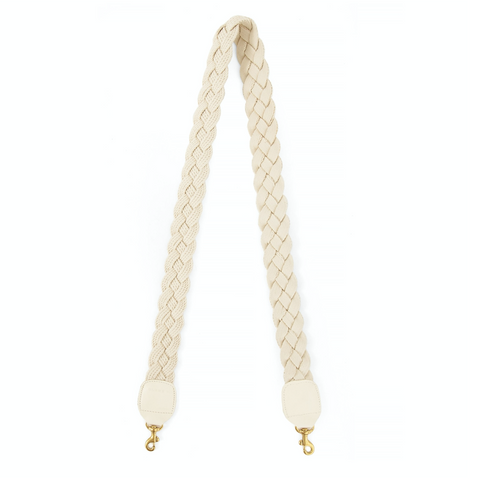 clare v cream braided crossbody strap at maeree