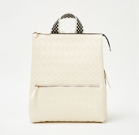 clare v cream diamond leather remi backpack at maeree