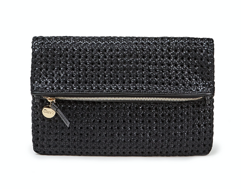 clare v black woven rattan foldover clutch at maeree