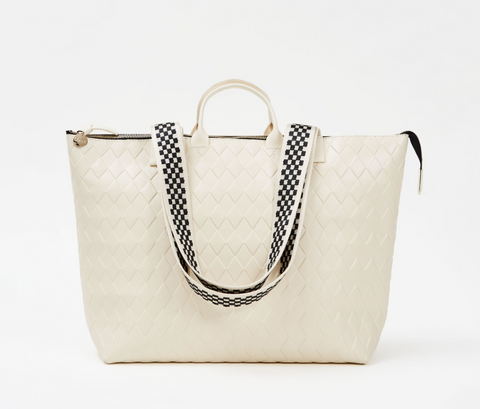 clare v cream diamond le zip sac tote at maeree