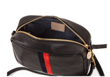 clare v perforated black leather crossbody with inlaid stripe at maeree