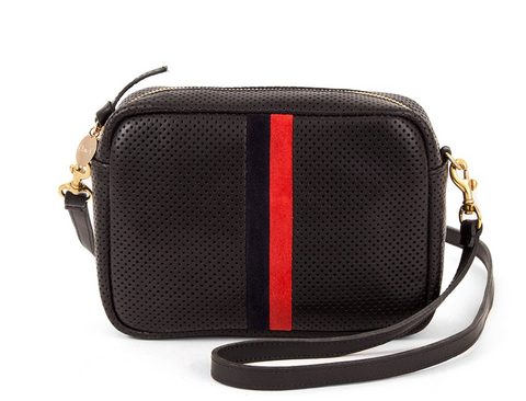 clare v perforated leather midi sac red and navy stripe at maeree