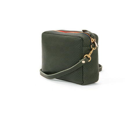 clare v loden perforated leather crossbody at maeree