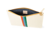 clare v white clutch with stripes at maeree