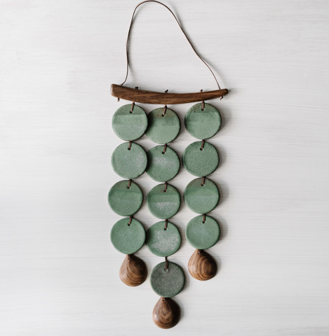 woodfolk jadeite wall hanging ceramic outdoor chime