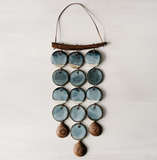 woodfolk blue ceramic wall hanging wind chime