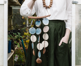 woodfolk blue ceramic wall hanging wind chime maeree