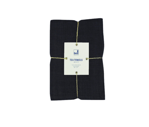 Black Linen Tea Towels