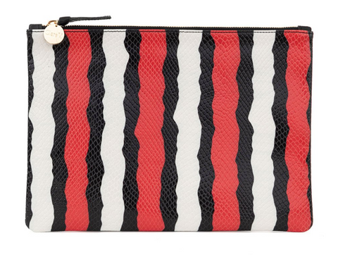clare v poppy stripe snake flat clutch at maeree