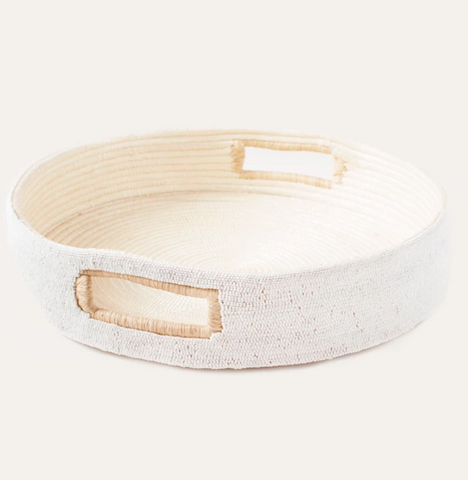 indego africa white beaded tray at maeree