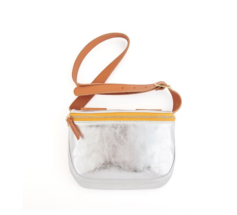 clare v metallic silver fanny pack at maeree