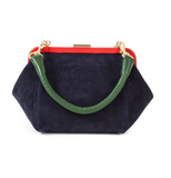 clare v navy suede box bag at maeree