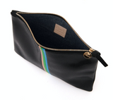 clare v black lizard stripe flat clutch at maeree