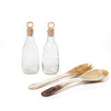 glass oil and vinegar decanter with horn salad servers at maeree