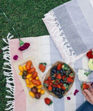 bloom & give cotton striped picnic blanket at maeree