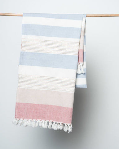 bloom & give blue striped beach towel
