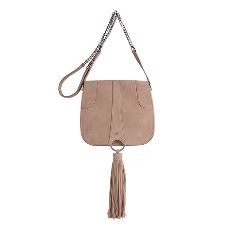 nude suede tasseled saddle bag maeree