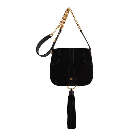 black suede tassel saddle bag from avgvs at maeree