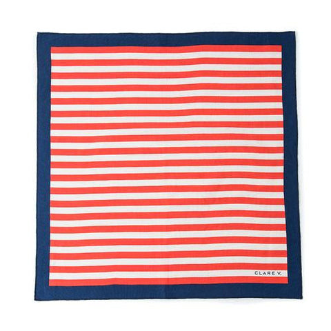 Clare V red stripe bandana scarf at maeree