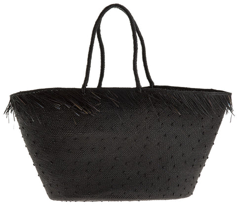 artesano brisa black knots straw bag at maeree
