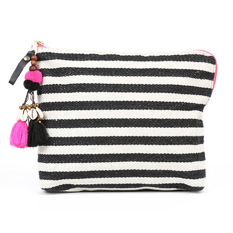 JADEtribe black and white striped valerie beach clutch at maeree