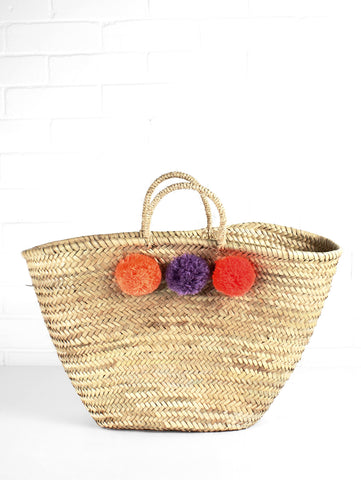 bohemia beach tote with pom poms at maeree