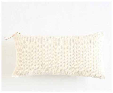 celina mancurti crochet and linen lumbar pillow