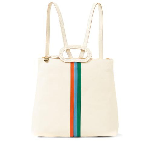 clare v marcelle backpack white leather with stripes at maeree
