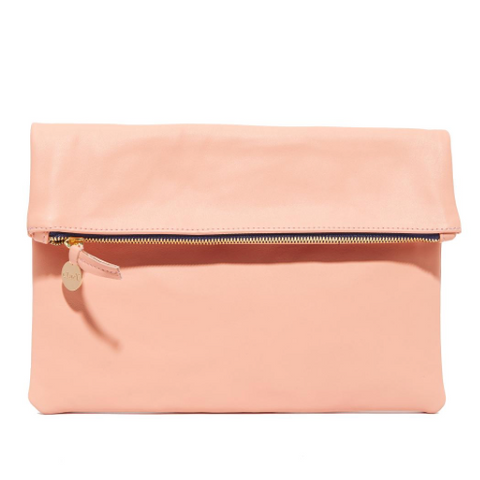 clare v maison foldover clutch blush leather