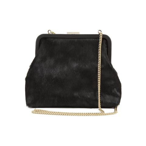 clare v flore hair on handbag maeree