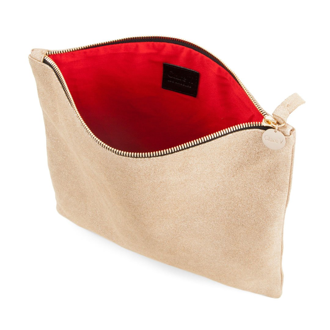 Gold Suede Foldover Clutch