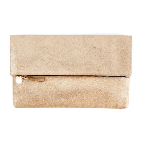 clare v gold shimmer suede foldover clutch maeree