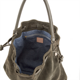 clarev henri drawstring bag army greed suede at maeree