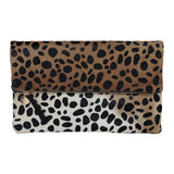 clare v leopard hair-on folder clutch maeree