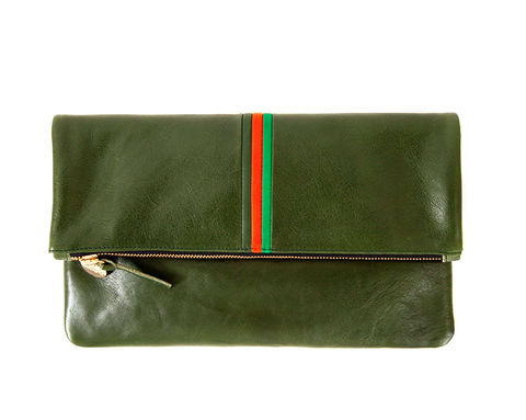Loden Strip Foldover Clutch