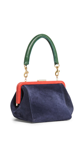 clare v le box bag navy suede maeree