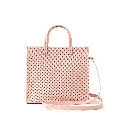 clare v simple petit tote perforated ballet leather