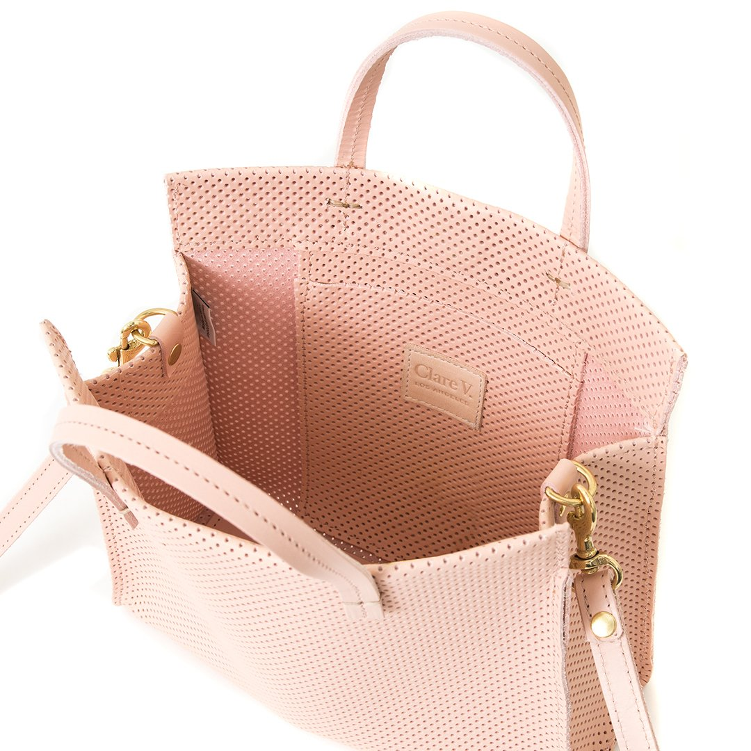 Blush Perforated Leather Petit Tote